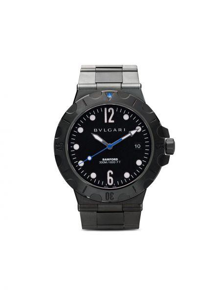 Czarny zegarek mechaniczny srebrny Bamford Watch Department