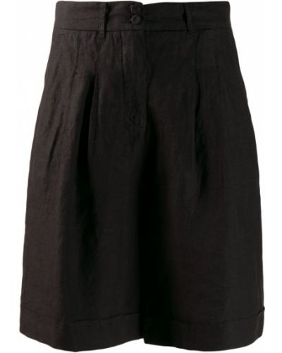 Черные шорты с карманами на пуговицах 120% Lino