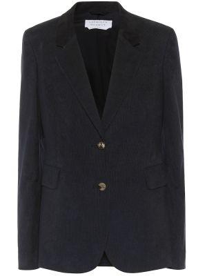 Однобортный синий кожаный пиджак Gabriela Hearst