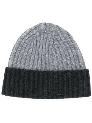 Серая кашемировая шапка бини в рубчик с отворотом N.peal