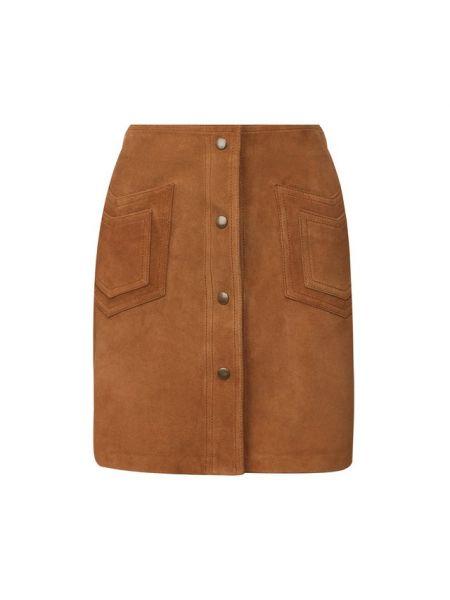 Кожаная юбка мини - коричневая Saint Laurent