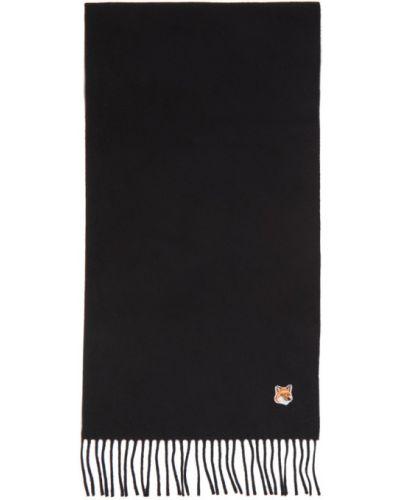 Wełniany biały szalik z łatami Maison Kitsune