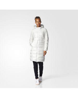 Теплое приталенное пальто с капюшоном айвори Adidas
