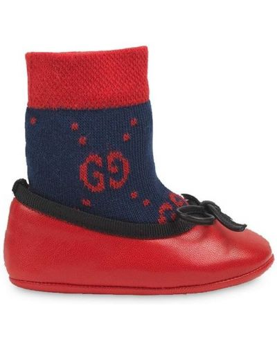 Красные кожаные балетки без застежки Gucci Kids