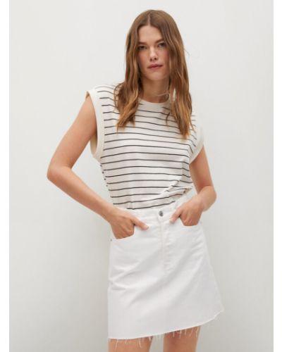 Spódnica jeansowa - biała Mango