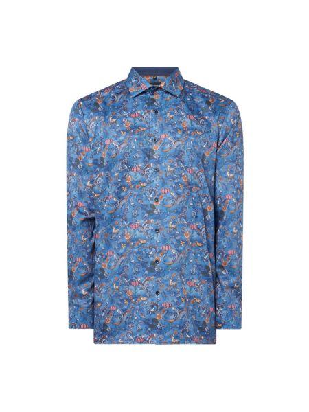 Niebieska koszula bawełniana z długimi rękawami Olymp