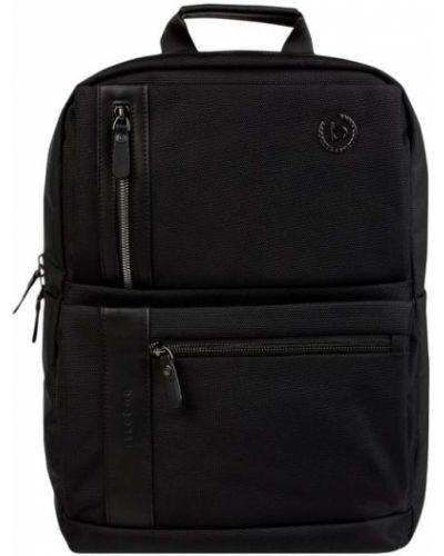 Czarny plecak na laptopa w paski Bugatti
