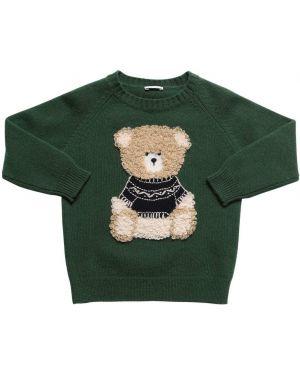 Zielony sweter wełniany z haftem Il Gufo