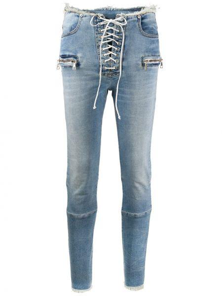 Хлопковые синие джинсы-скинни с карманами с пайетками Unravel Project