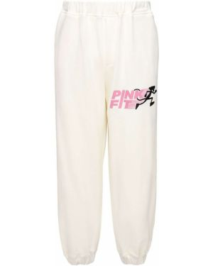 Różowe joggery z haftem bawełniane Lc23