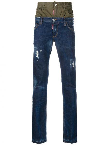 Хлопковые синие джинсы стрейч Dsquared2