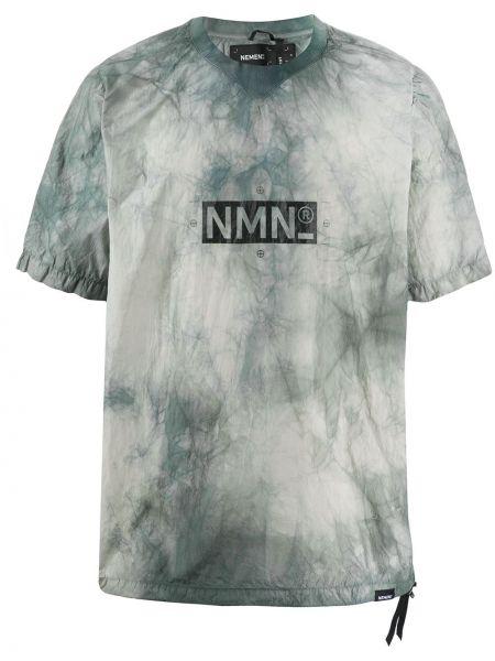 С рукавами серая футболка свободного кроя с круглым вырезом Nemen