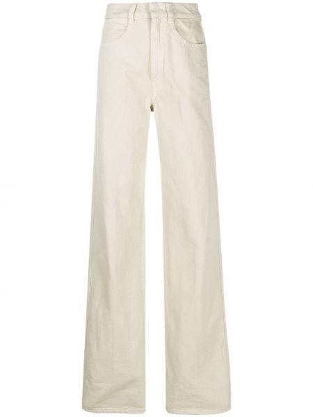 Niebieski szeroki jeansy z łatami z kieszeniami Lemaire