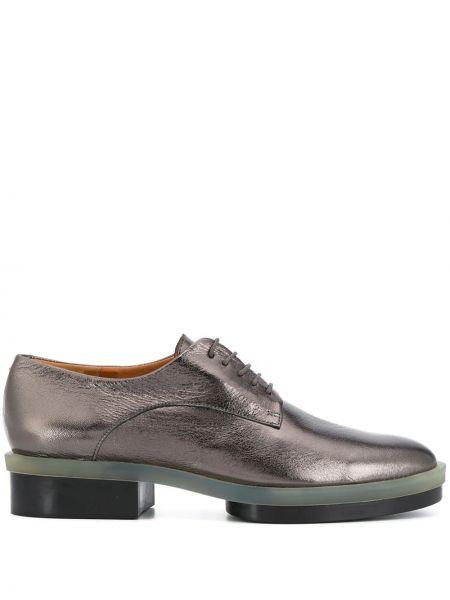 Srebro koronkowa skórzany buty brogsy na sznurowadłach Clergerie