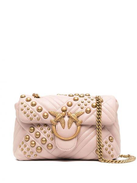 Стеганая розовая кожаная сумка на плечо Pinko