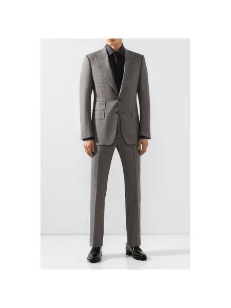 Серый костюмный приталенный костюм с подкладкой Tom Ford