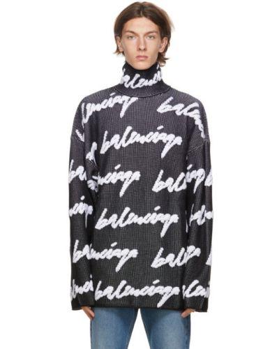 Черная водолазка жаккардовая с манжетами с длинными рукавами Balenciaga