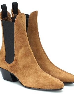 Brązowe ankle boots zamszowe Khaite