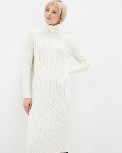 Вязаное трикотажное белое платье Happychoice