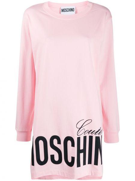 Расклешенное розовое платье макси в рубчик Moschino