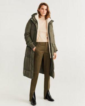 Пальто с капюшоном зеленое из овчины Mango
