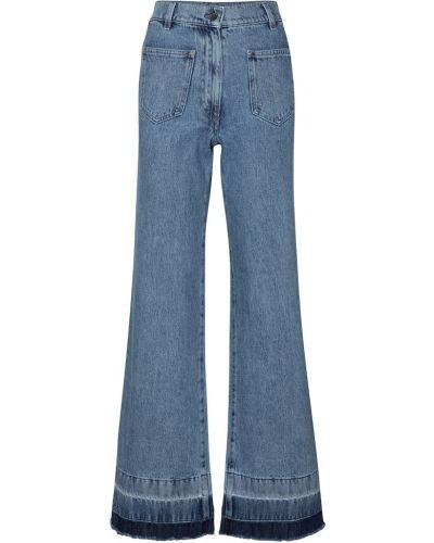 Хлопковые расклешенные синие джинсы Jw Anderson