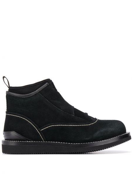Czarny buty skórzane z prawdziwej skóry okrągły nos okrągły Suicoke