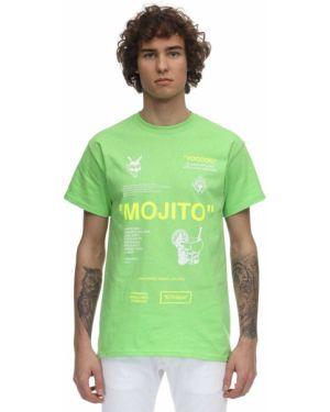 Zielony t-shirt bawełniany z printem Taboo