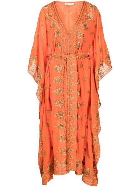 Оранжевая кафтан с вышивкой с вырезом Alice+olivia