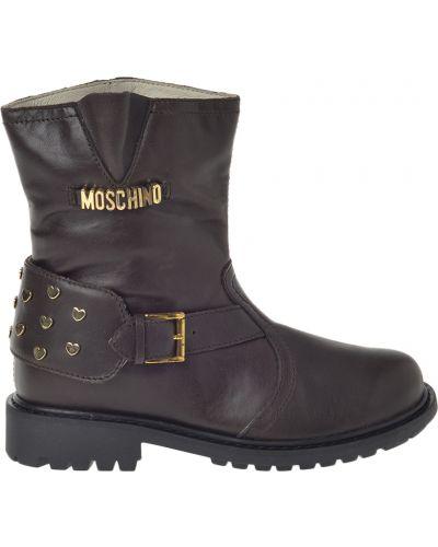 Сапоги коричневый кожаный Moschino