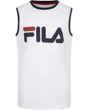 Прямая белая хлопковая спортивная футболка Fila
