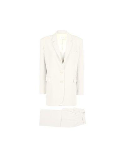 Костюмный белый брючный костюм из вискозы Seven Lab