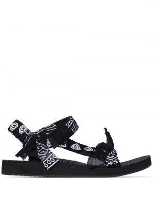 Czarne sandały bawełniane peep toe Arizona Love