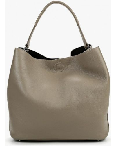 Кожаная сумка серая шоппер Madeleine