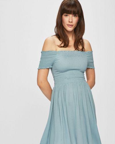 Платье с открытыми плечами - синее Review