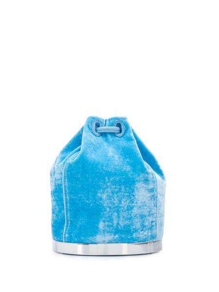 С ремешком синяя шелковая кожаная сумка на шнурках Tyler Ellis