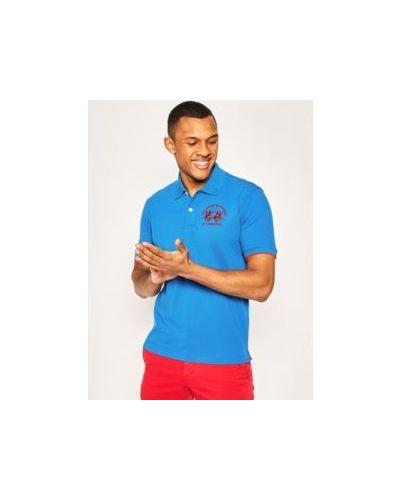 Bawełna niebieski bawełna koszulka polo La Martina