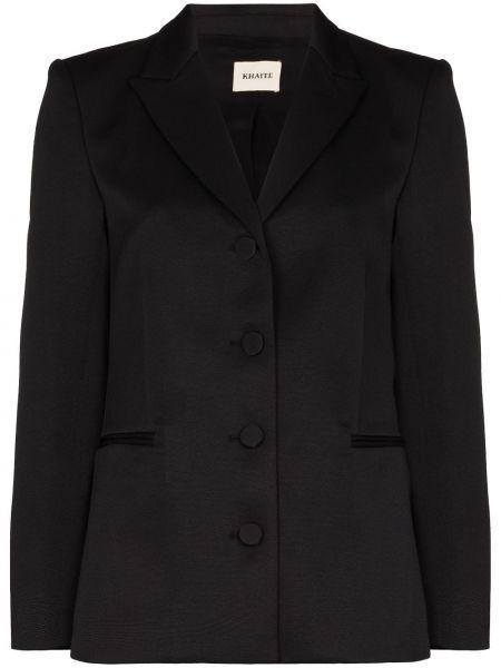 Шелковый однобортный черный удлиненный пиджак Khaite