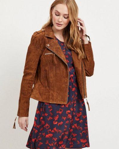 Кожаная куртка осенняя коричневая Vila