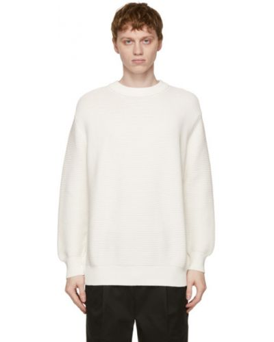Белый длинный свитер с воротником с длинными рукавами President's