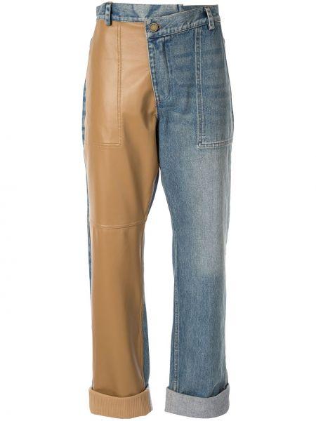 Кожаные коричневые джинсы на пуговицах с отворотом Monse