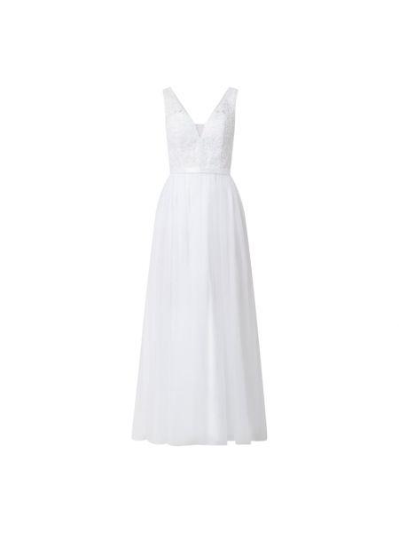 Biała sukienka wieczorowa rozkloszowana bez rękawów Mascara
