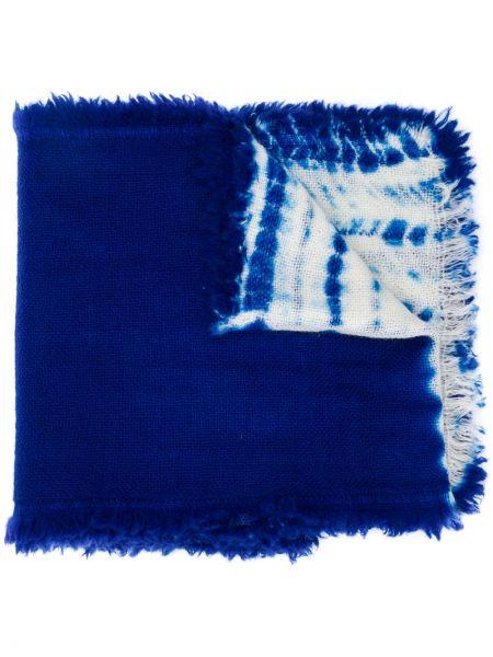Шерстяной синий шарф Suzusan