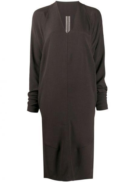 Bezpłatne cięcie brązowy długo sukienka z wiskozy z dekoltem w szpic Rick Owens