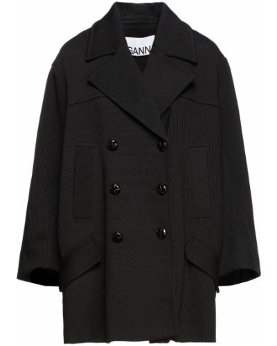 Черное хлопковое пальто Ganni