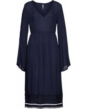 Платье мини миди с V-образным вырезом Bonprix