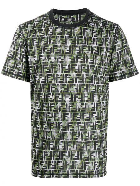 Koszula krótkie z krótkim rękawem prosto z nadrukiem Fendi