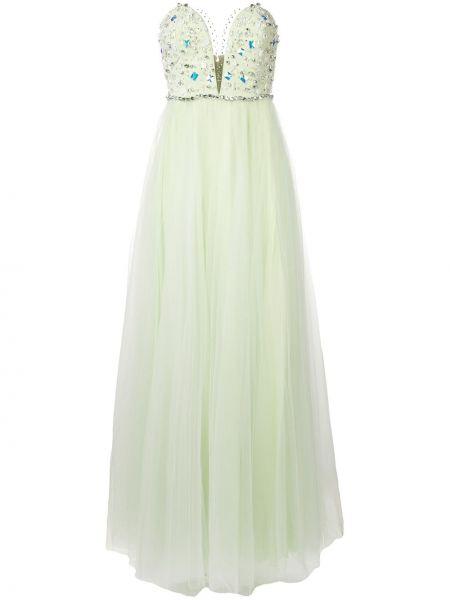 Вечернее платье из фатина с камнями без бретелек с вырезом Rhea Costa