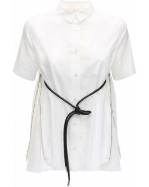 Белая классическая рубашка с воротником с карманами с лебяжьим пухом Sacai