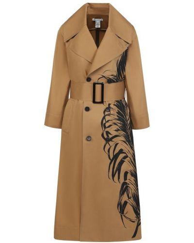 Пальто бежевое расклешенное Oscar De La Renta